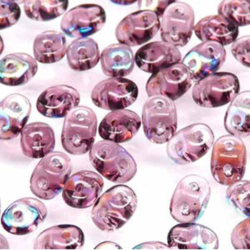 Amethyst Ab Superduo Czech Two Hole Seed Beads 2.5x5mm 22 Grams Du0520060-28701-Tb