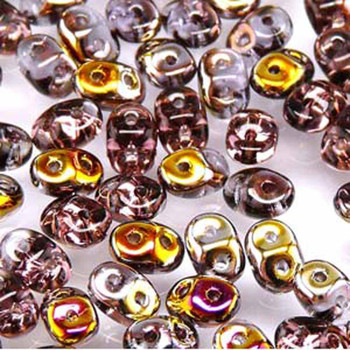 Amethyst Sliperit SuperDuo Czech Two Hole Seed Beads 2.5x5mm 20gr