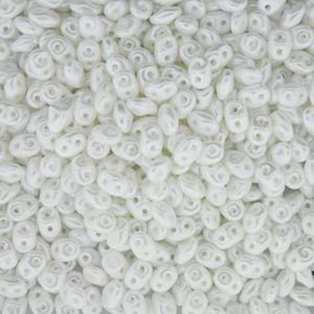 Pastel White SuperDuo Czech Two Hole Seed Beads 2.5x5mm 20gr