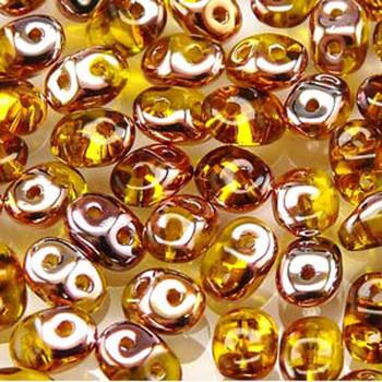 Amber Capri Gold Superduo Czech Two Hole Seed Beads 2.5x5mm 20 Grams Du0580020-27101-Tb