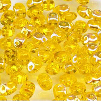 Amber Ab Superduo Czech Two Hole Seed Beads 2.5x5mm 22 Grams Du0580020-28701-Tb