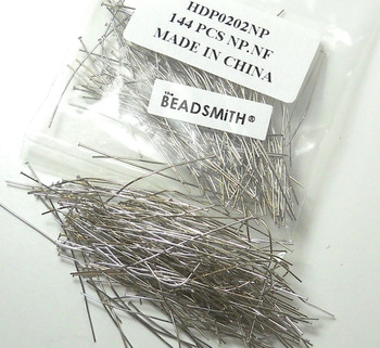 240 Head Pins .020dia X 2 Inch Nickel Plated Thin 24 Gauge Wire