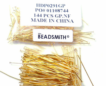240 Head Pins 029Dia x 1 5 Inch Gold Plated St Ard 21 Gauge Wire Hdp02915Gp