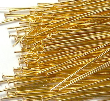 400 Head Pins 029Dia x 1 Inch Gold Plated St Ard 21 Gauge Wire Hdp0291Gp