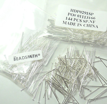 400 Head Pins 029Dia x 1 Inch Silver Plated St Ard 21 Gauge Wire Hdp0291Sp