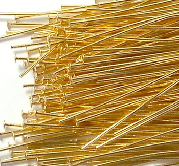 144 Head Pins 029Dia x 2 Inch Gold Plated St Ard 21 Gauge Wire Hdp0292Gp