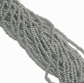 Czech 11/0 Glass Seed Beads 1 (6 String Hank) Preciosa (Metallic Bright Silver) Sb1101700