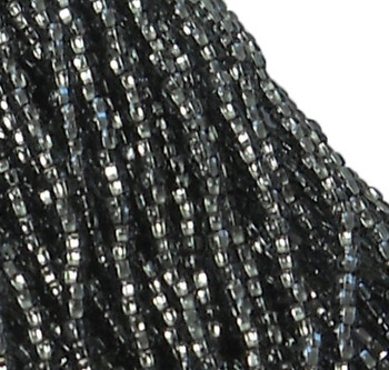 Czech 11/0 Glass Seed Beads 1-6 String Hank Preciosa Silver Lined Black Diamond Sb1147010