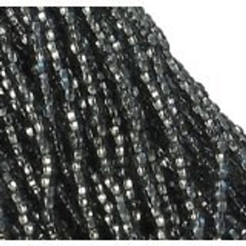 Czech 11/0 Glass Seed Beads 1-6 String Hank Preciosa Silver Lined Black Diamond