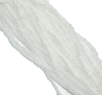 White Pearl Luster Ceylon Czech 6/0 Seed Bead on Loose Strung 6 String Hank