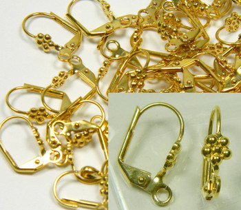 48 Leaver Back Gold-Plated Brass Leverback 10x5mm Flower Open Loop 24 Pair 8513Fd
