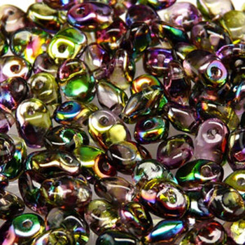 Crystal Magic Violet Green 2.5x5mm 1 One Hole Fringe Czech Glass Seed Beads 20 Grams Un0500030-95000-Tb