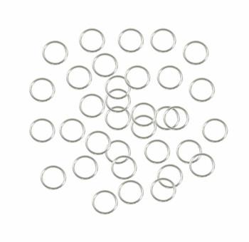 400 Jump Rings Silver-Plated Brass 8mm Round 21 Gauge. Open 6.5mm Inside Z-G-080526050947-Sp