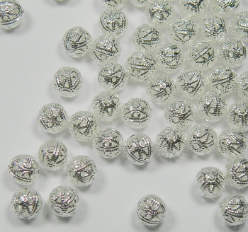 100 Shiny Silver Plated Brass Beads 8mm Filigree Round Jewelry Spacer Metal 1466Mb
