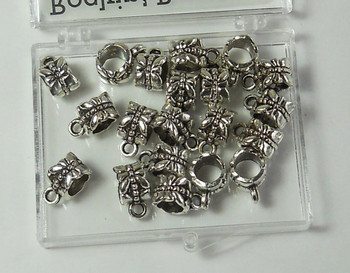 20 Dangle Hanger Beads 8x6mm Tube with Dragonfly and Loop, 4mm Hole