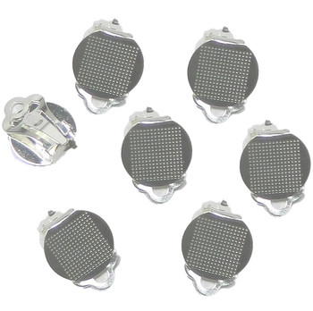 30 Earring Clip-On Silver-Plated Steel 12mm Round Flat Pad Loop 15 Pairs 1922Fn