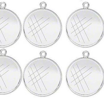 6 Silver-Plated Brass Pendant Drop 19mm Round Bezel Cup Serrated Edge Solid Back Fits 18mm Cabochon Or Flat-Backed Crystal 18 2192Mt