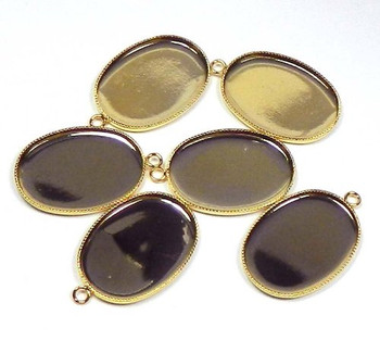 6 Gold-Plated Brass Pendant Drop 26x19mm Oval Bezel Cup Serrated Edge Solid Back Fits 25x18mm Oval Cabochon Or Flat-Backed Crystal