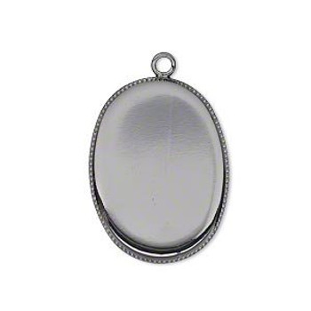 6 Gunmetal Plated Brass Pendant Drop 26x19mm Oval Bezel Cup Serrated Edge Solid Back Fits 25x18mm Oval Cabochon Or Flat-Backed Crystal 18 2254Mt