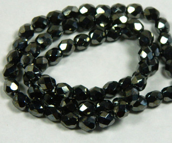 "Metallic Hematite Czech Faceted FirePolished 6mm Glass Beads 16"" H20-2415Gl"