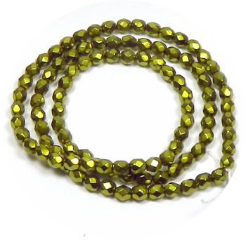 """Lt Green Carmen Czech 4mm Faceted Round Preciosa FirePolished Glass Beads 16"""" H20-2616Gl"""
