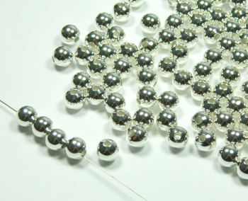 100 Shiny Silver Plated Brass Beads , 9mm Smooth Round Jewelry Spacer Metal Bead 100