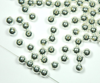 100 Shiny Silver Plated Brass Beads 10mm Smooth Round Jewelry Spacer Bead 2879Mb