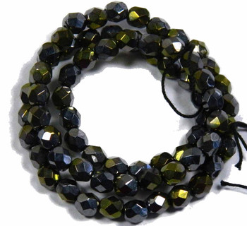 "Metallic Hematite/Gold Czech Faceted FirePolished 6mm Glass Beads 16"" H20-2971Gl"