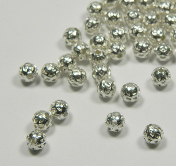 100 Shiny Silver Plated Brass Beads , 5mm Round with Weave Spacer Metal Bead 100.