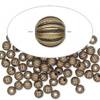 300 Beads Antiqued Gold-Plated Brass 4mm Corrugated Round Spacer Metal 8221Mb