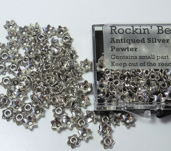 100 Bead Caps 7x2mm Flower For 6mm To 12mm Beads Antiqued Silver Cast Pewter 8610Fx
