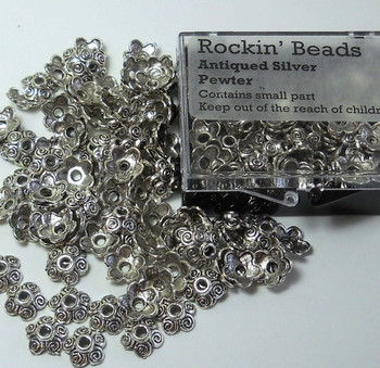 100 Bead Caps 10x3mm Flower For 10 To 14mm Beads Antiqued Silver Cast Pewter 8630Fx
