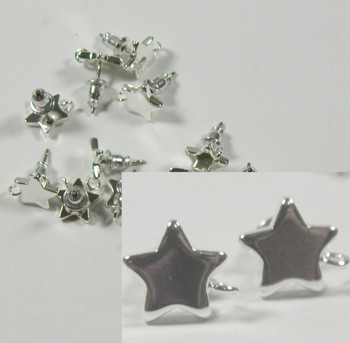 8 Earstuds Silver-Plated Surgical Steel 11x9mm Star Loop Earnuts Included 4 Pair 9387Fd