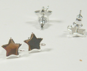 8 Earstuds, Silver-plated Surgical Steel, 11x9mm Star with Loop, Earnuts Included 4 Pair