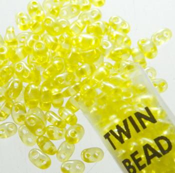 Yellow Lined 2.5x5mm 2 Hole Twin Beads Czech Glass Seed Beads 23 Gram Tube