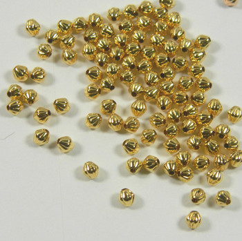 100 Beads Gold-Plated Brass 4mm Corrugated Double Cone Spacer Metal Bead 2934Mb