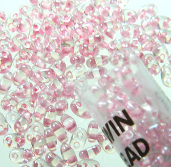 Color Lined Pink 2.5x5mm 2 Hole Twin Beads Czech Glass Seed Beads 23 Gram Tube Twn38694-Tb
