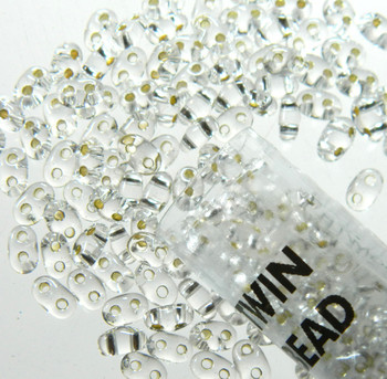 Crystal Clear Silver Lined 2.5x5mm 2 Hole Twin Beads Czech Glass Seed Beads 23 Gram Tube Twn78102-Tb