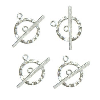 4 Full Hammered 925 Sterling Silver Jewelry Toggle Clasps 14mm 4 Clasps 8 Pieces Ss844