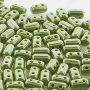 Rulla Opaque Green White Luster Czech Glass Seed Beads 3x5mm 20 Gram Tube (2 Hole) Rul3553410-14400-Tb