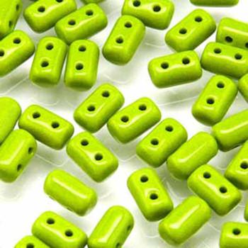 Rulla Opaque Green Czech Glass Seed Beads 3x5mm 20 Gram Tube (2 Hole) Rul3553410-Tb