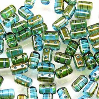 Rulla Aquamrine Celsian Czech Glass Seed Beads 3x5mm 20 Gram Tube (2 Hole) Rul3560020-22501-Tb