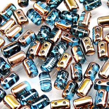 Rulla Aquamarine Capri Gold Czech Glass Seed Beads 3x5mm 20 Gram Tube (2 Hole) Rul3560020-27101-Tb