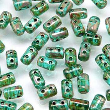 Rulla Aqua Picasso Czech Glass Seed Beads 3x5mm 20 Gram Tube (2 Hole) Rul3560020-43400-Tb