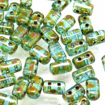 Rulla Aquamarine Travertine Czech Glass Seed Beads 3x5mm 20 Gram Tube (2 Hole) Rul3560020-86800-Tb