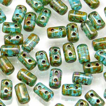 Rulla Aquamarine Travertine Dark Czech Glass Seed Beads 3x5mm 20 Gram Tube (2 Hole) Rul3560020-86805-Tb