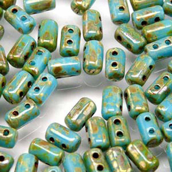 Rulla Turquoise Blue/Picasso Czech Glass Seed Beads 3x5mm 20 Gram Tube (2 Hole) Rul3563030-43400-Tb