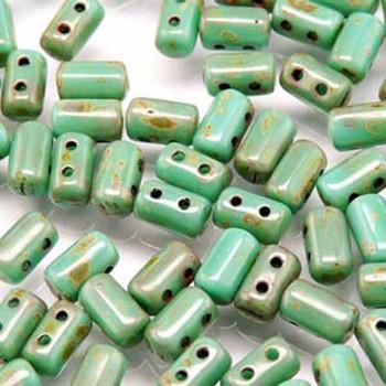 Rulla Turquoise Green Travertine Dark Czech Glass Seed Beads 3x5mm 20 Gram Tube (2 Hole) Rul3563130-86805-Tb