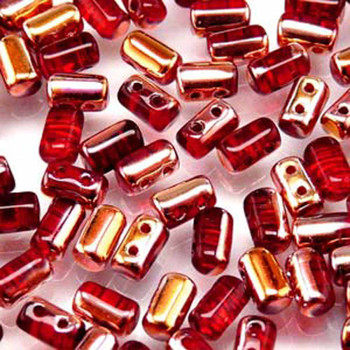Rulla Ruby Capri Gold Czech Glass Seed Beads 3x5mm 20 Gram Tube (2 Hole) Rul3590080-27101-Tb