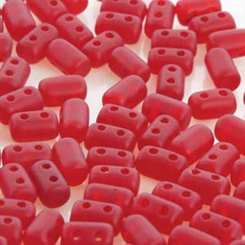 Rulla Ruby Matte Czech Glass Seed Beads 3x5mm 20 Gram Tube (2 Hole) Rul3590080-84110-Tb